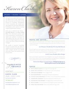 Karen Clark Speaker One Sheet