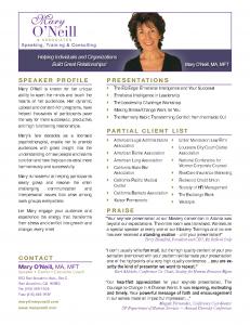 Mary O'Neill Speaker One Sheet