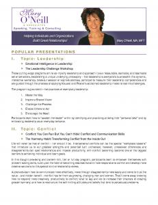 Mary O'Neill Popular Presenations